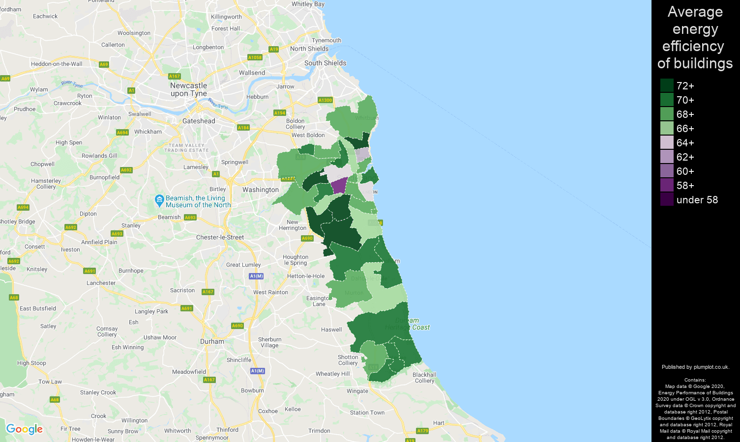 Sunderland map of energy efficiency of flats