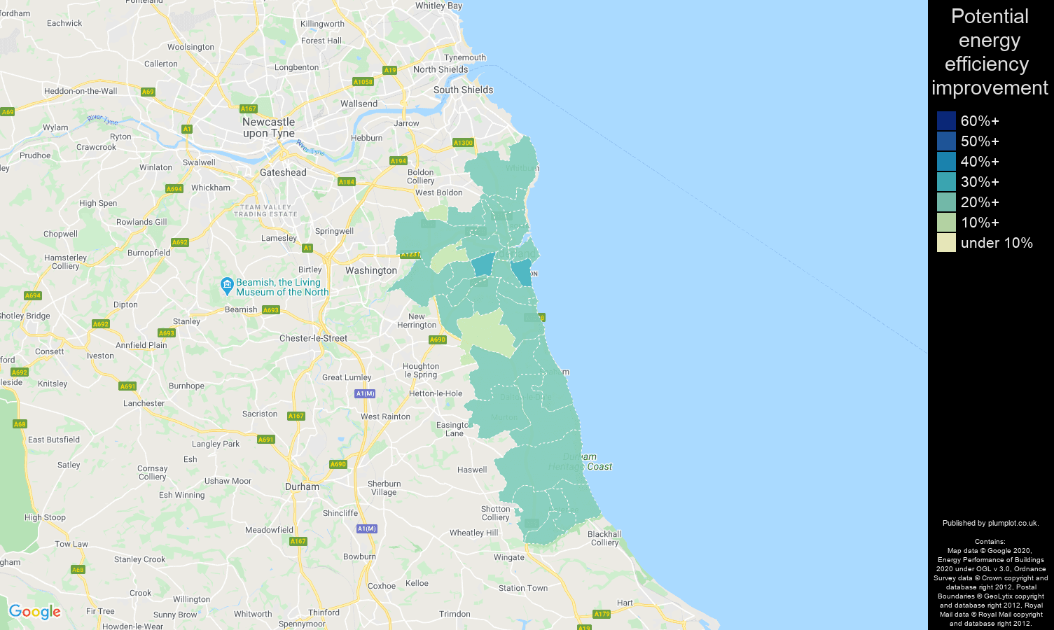 Sunderland map of potential energy efficiency improvement of houses