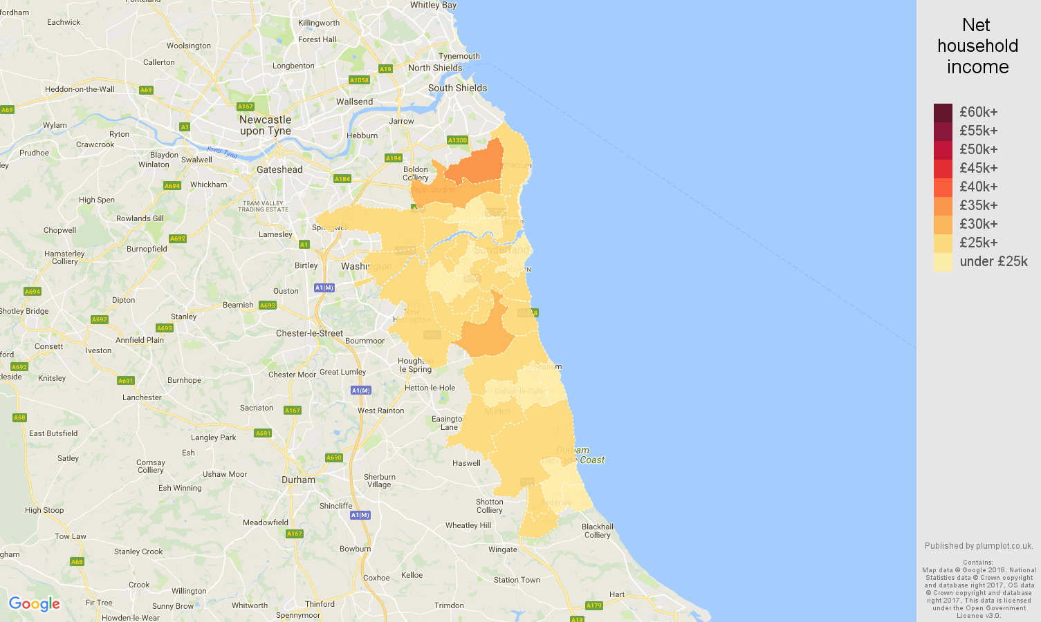 Sunderland net household income map
