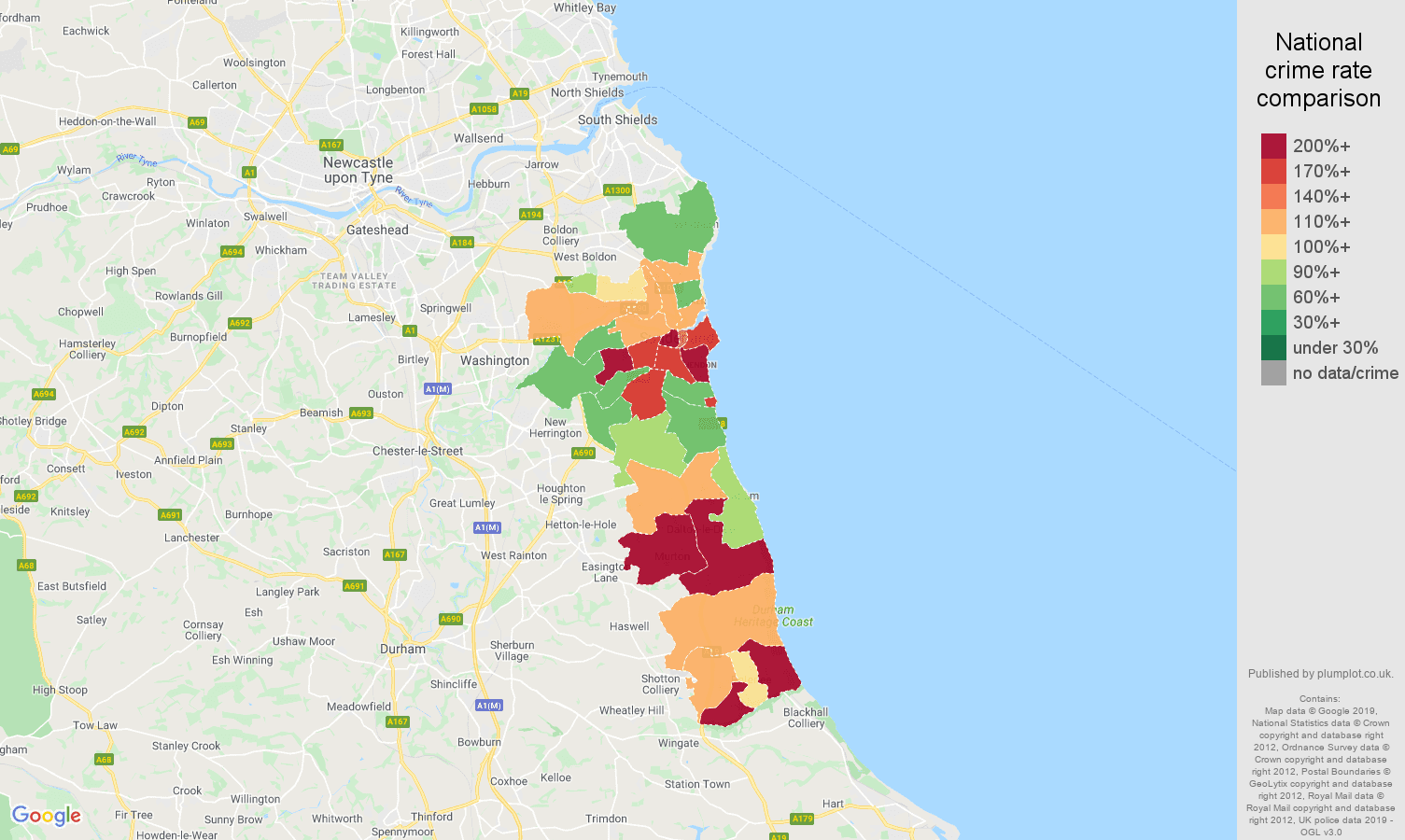 Sunderland other theft crime rate comparison map