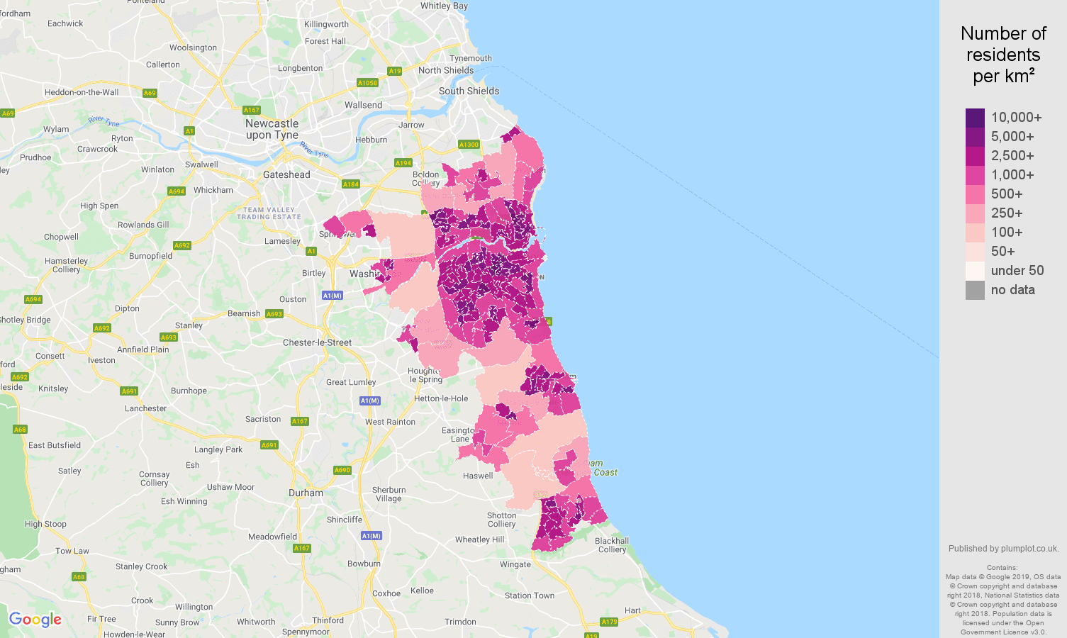Sunderland population stats in maps and graphs