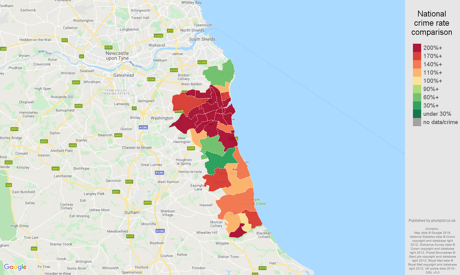 Sunderland public order crime rate comparison map