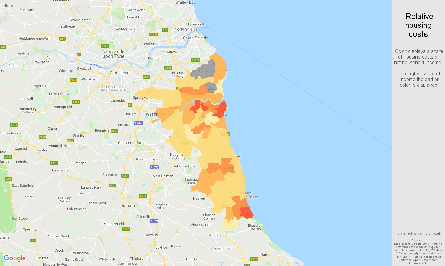 Sunderland relative housing costs map