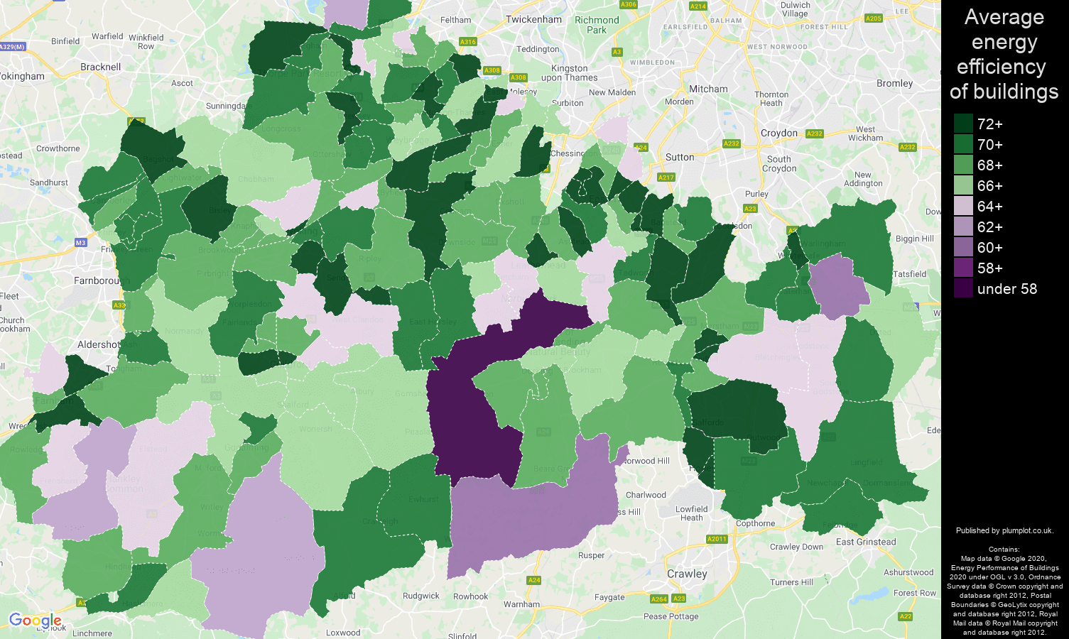 Surrey map of energy efficiency of flats