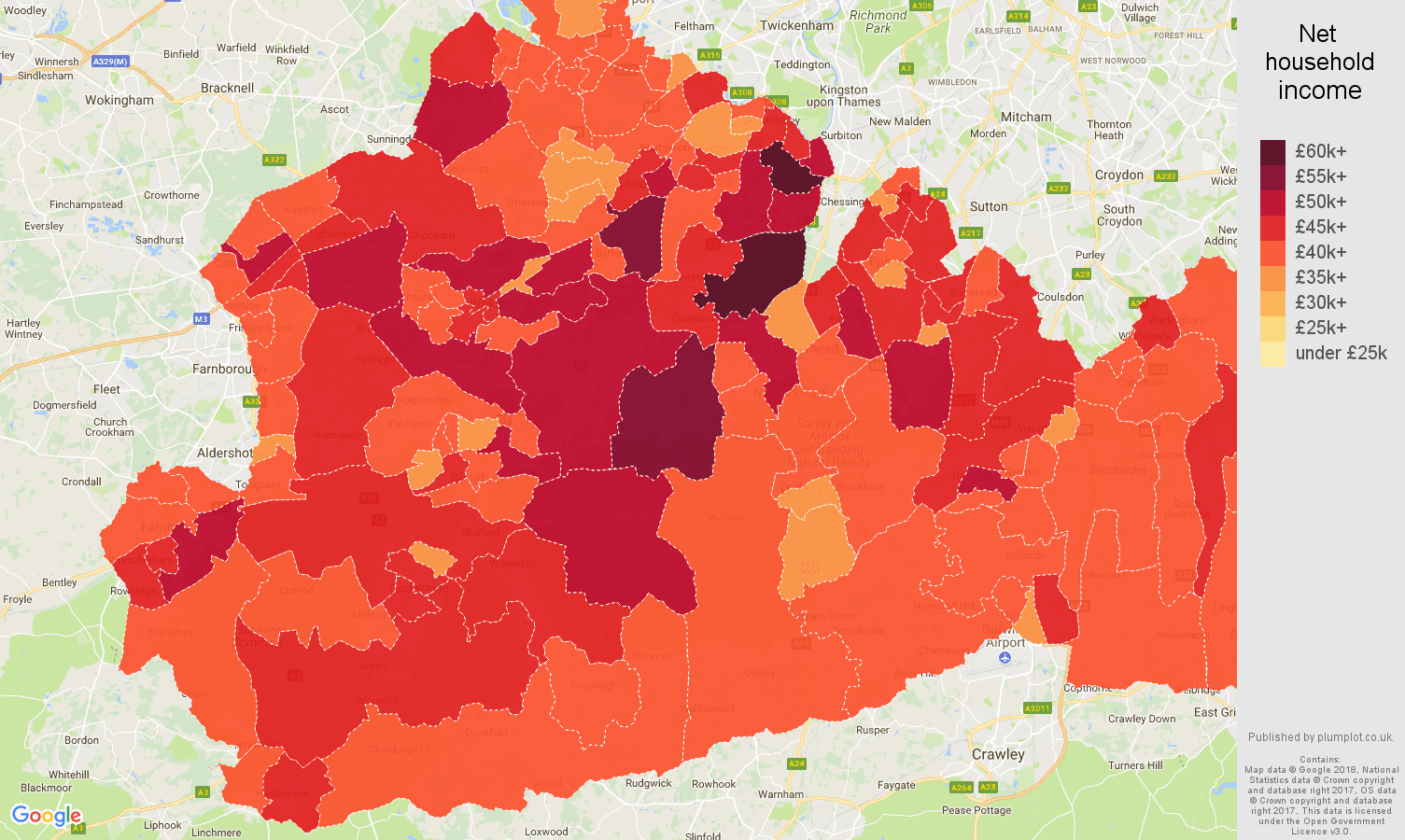 Surrey net household income map