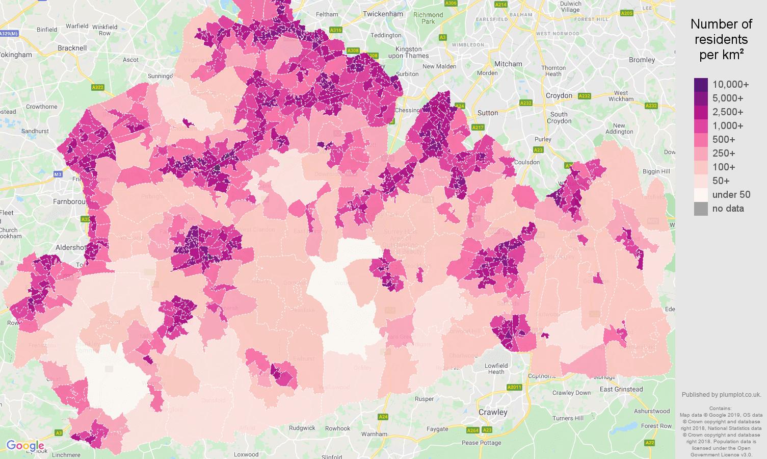 Surrey population density map
