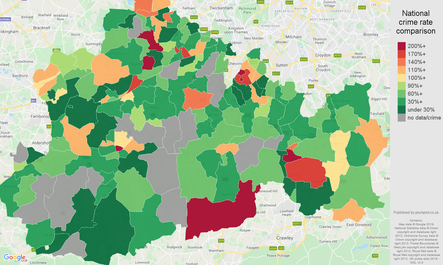 Surrey possession of weapons crime rate comparison map