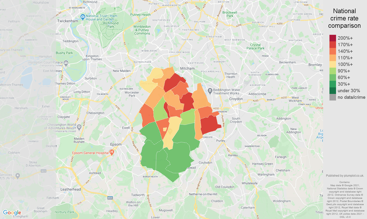 Sutton antisocial behaviour crime rate comparison map