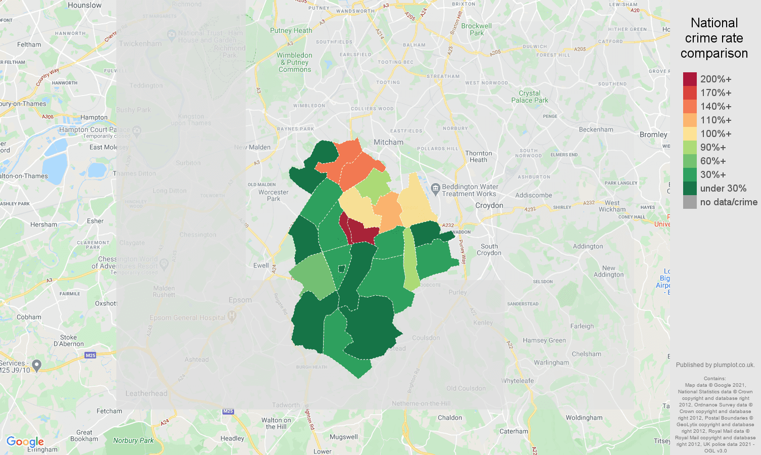 Sutton bicycle theft crime rate comparison map