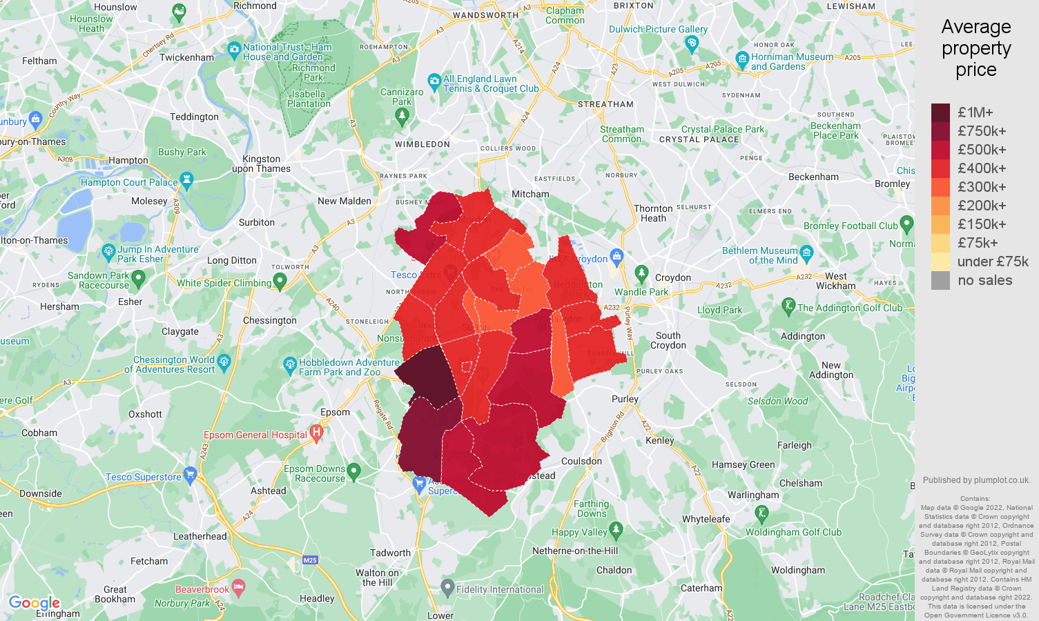 Sutton house prices map