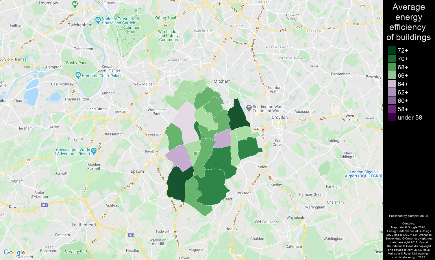 Sutton map of energy efficiency of flats