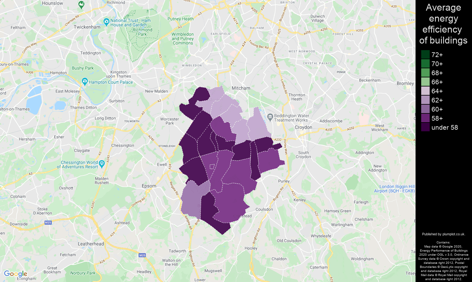 Sutton map of energy efficiency of houses