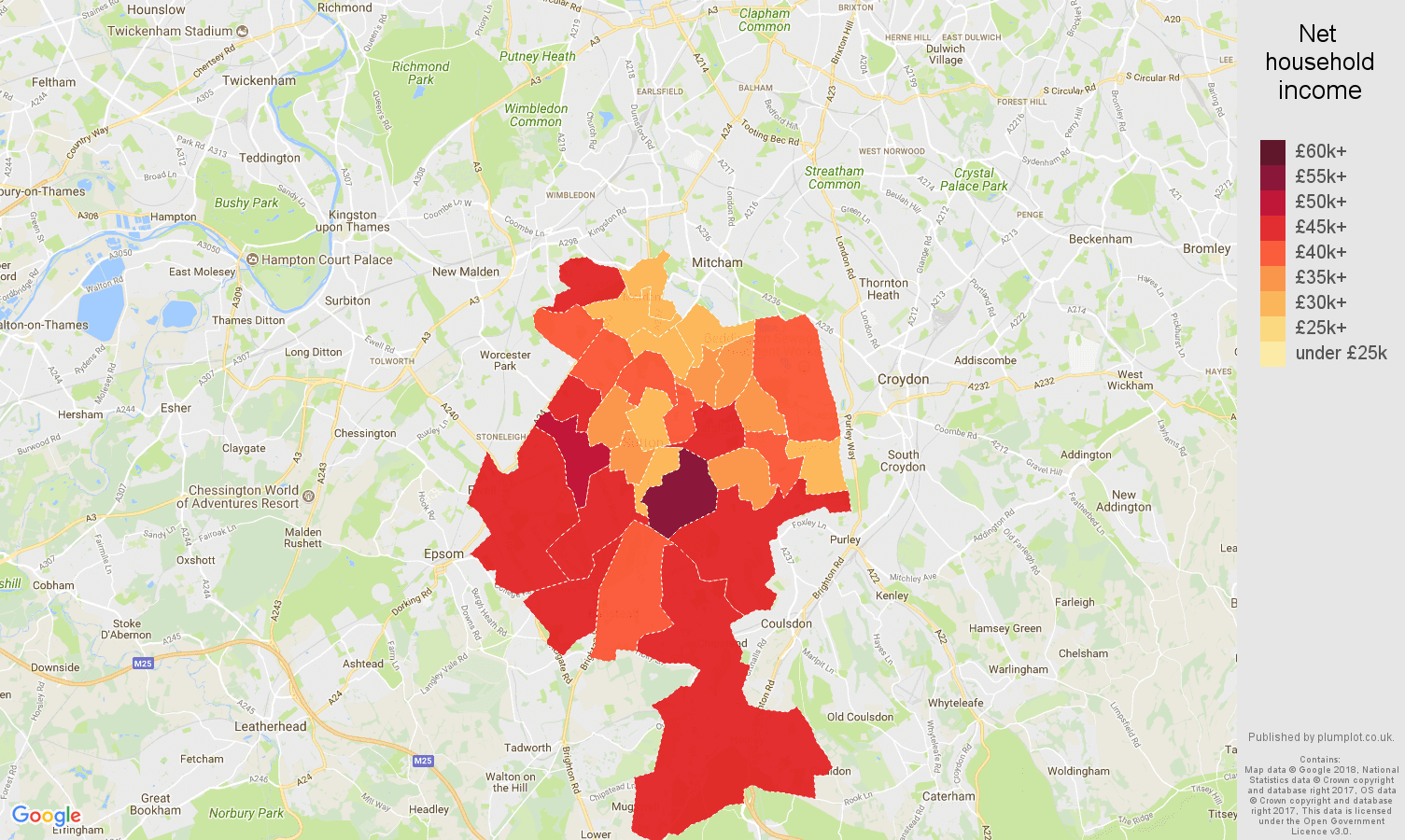 Sutton net household income map