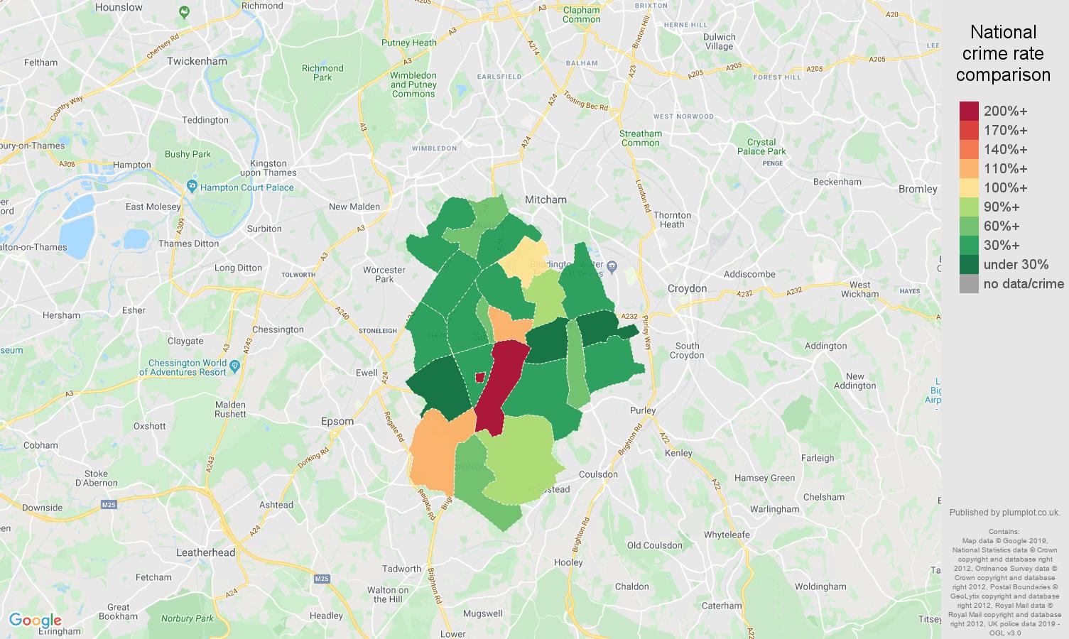 Sutton other crime rate comparison map