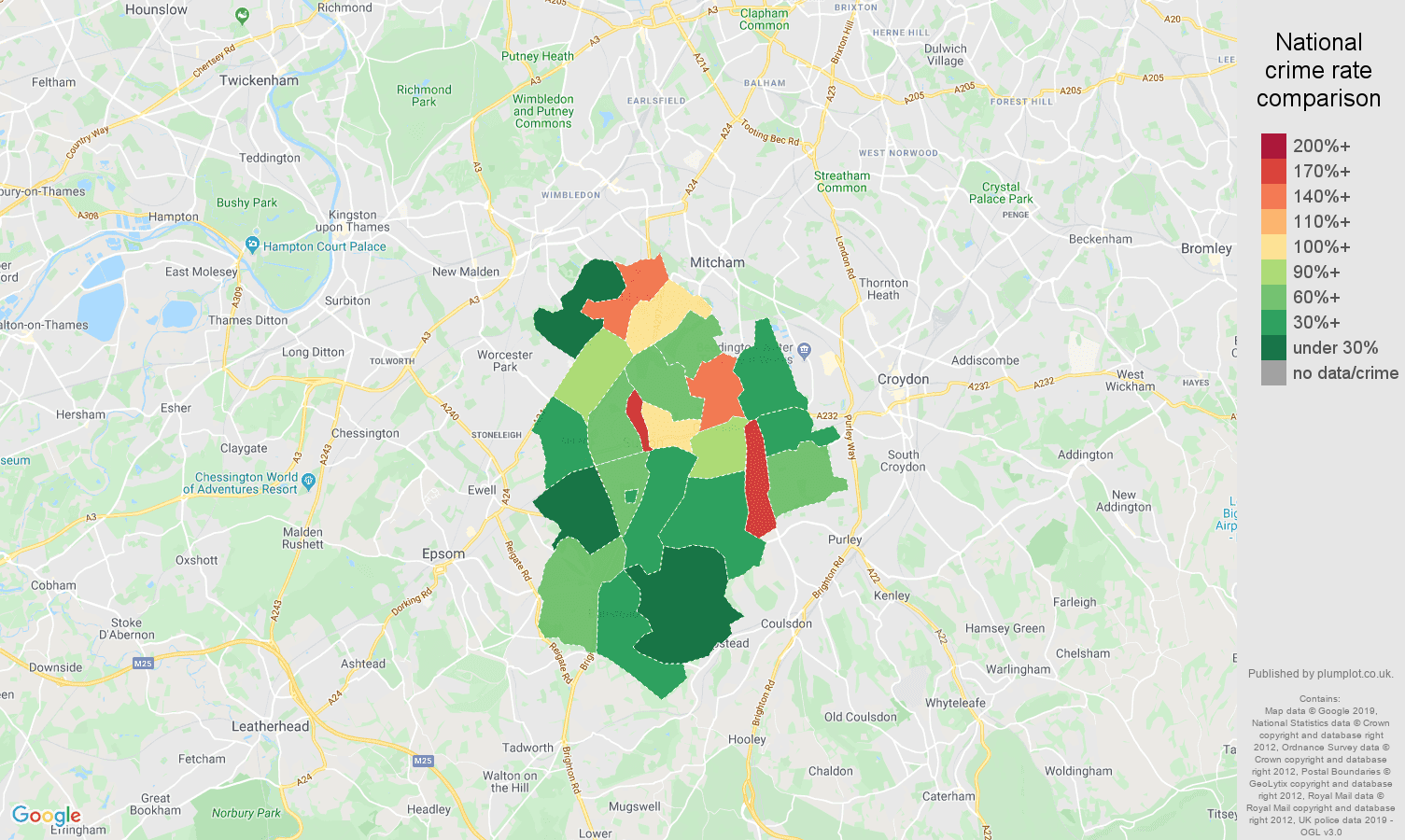 Sutton other theft crime rate comparison map
