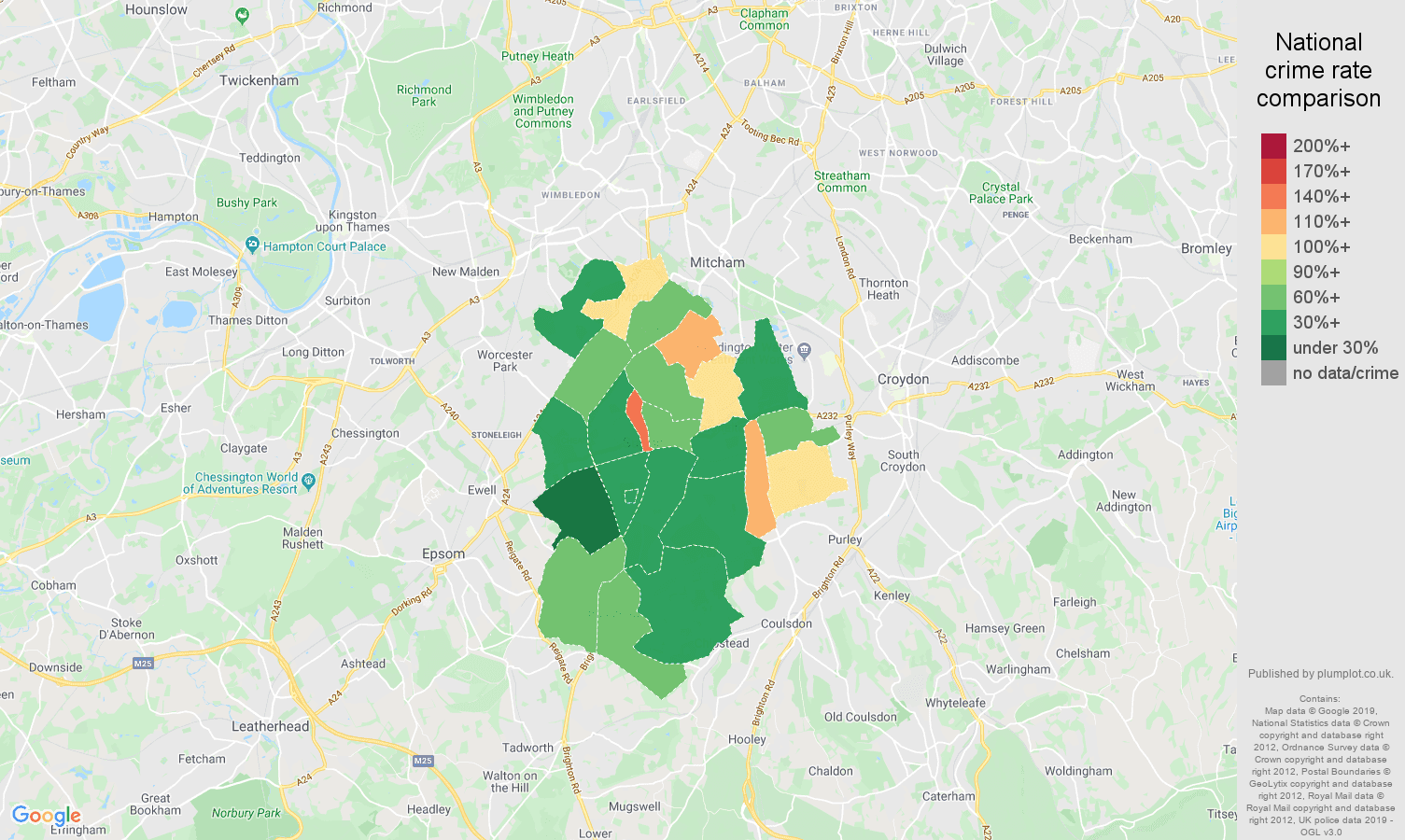 Sutton public order crime rate comparison map