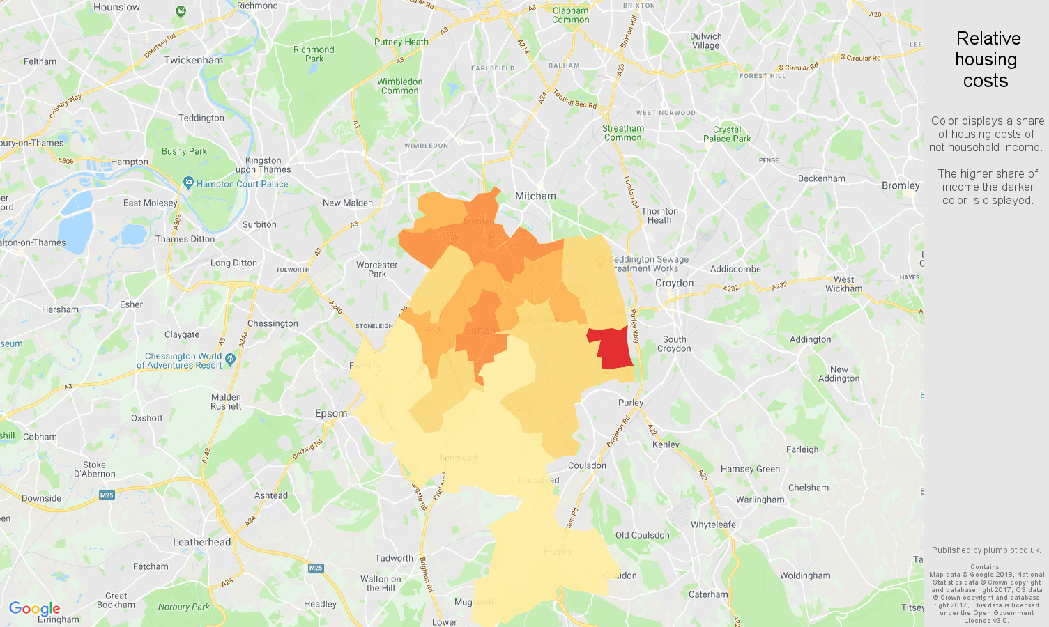 Sutton relative housing costs map