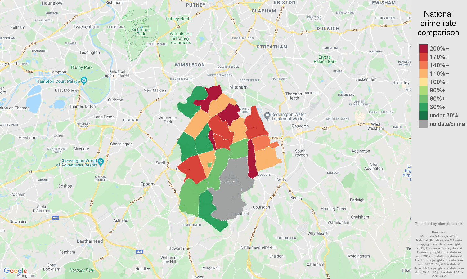 Sutton robbery crime rate comparison map