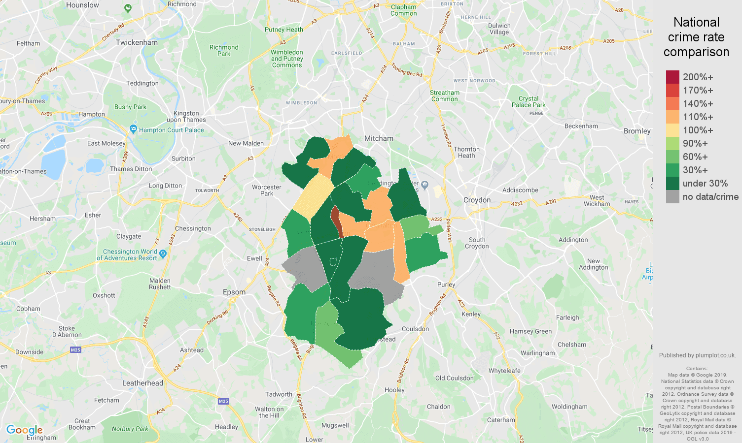 Sutton shoplifting crime rate comparison map