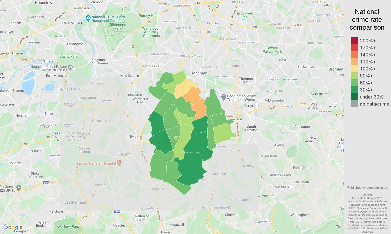 Sutton violent crime rate comparison map