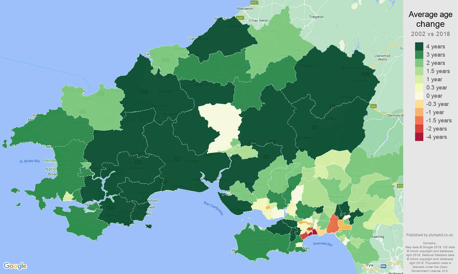 Swansea average age change map