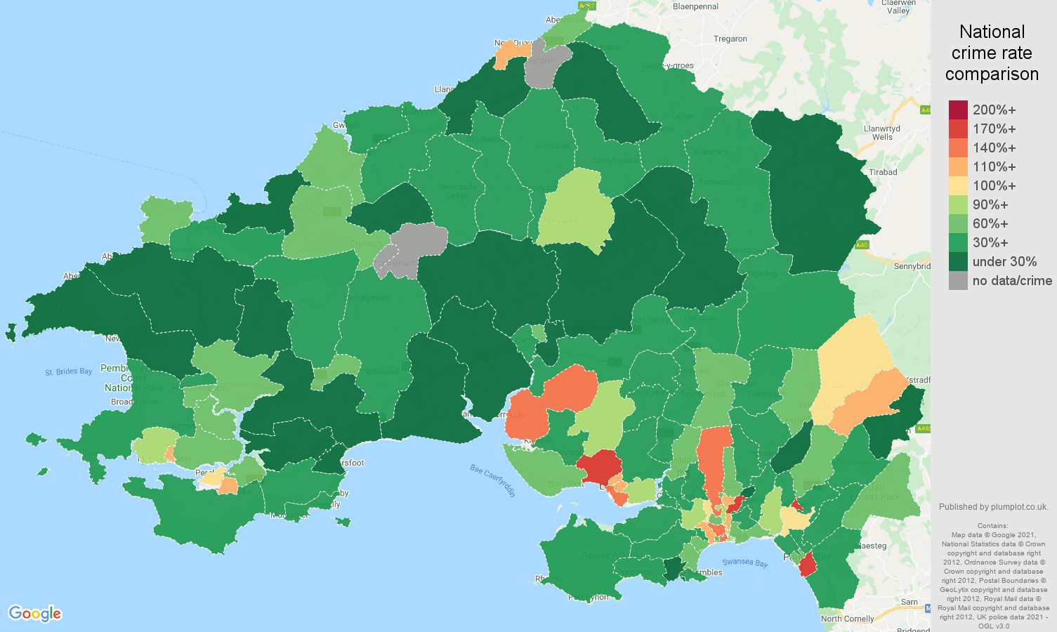 Swansea burglary crime rate comparison map