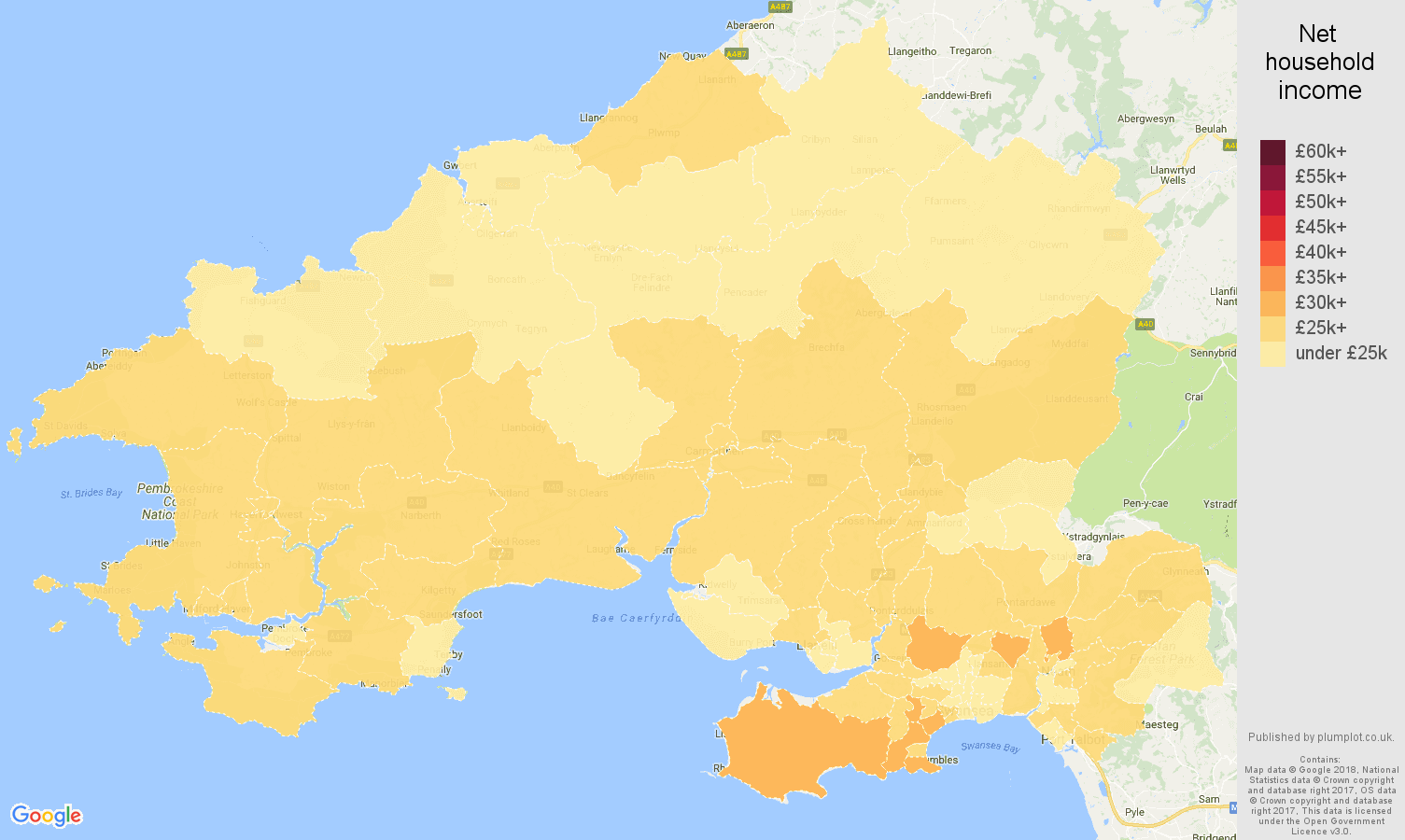 Swansea net household income map