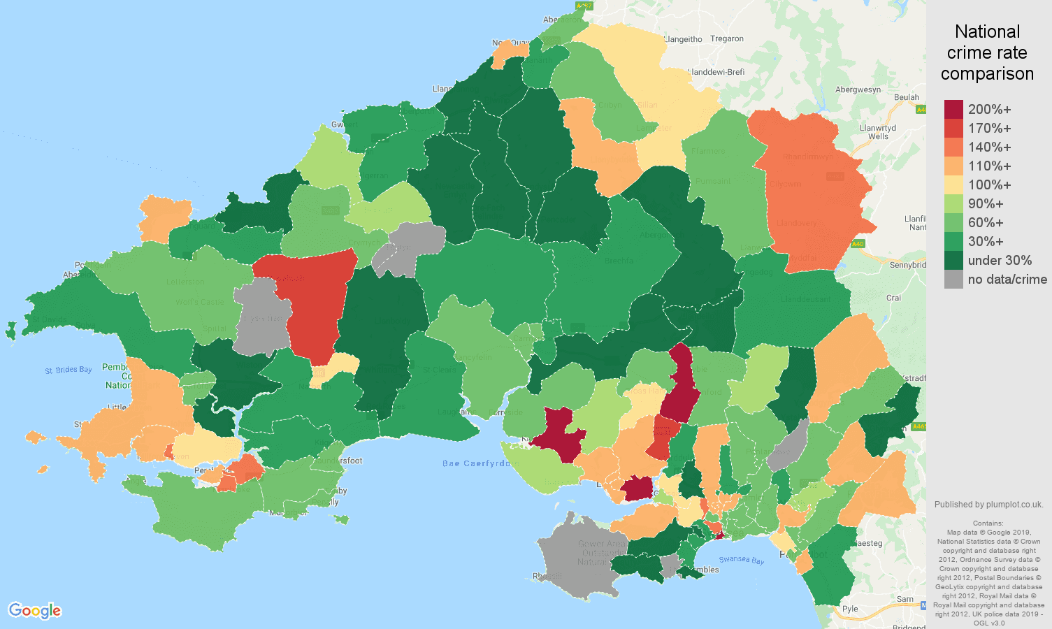 Swansea other crime rate comparison map