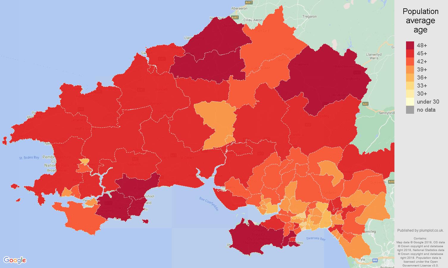Swansea population average age map