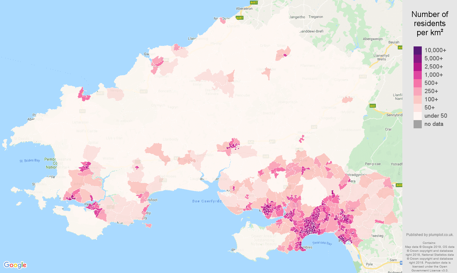 Swansea population stats in maps and graphs