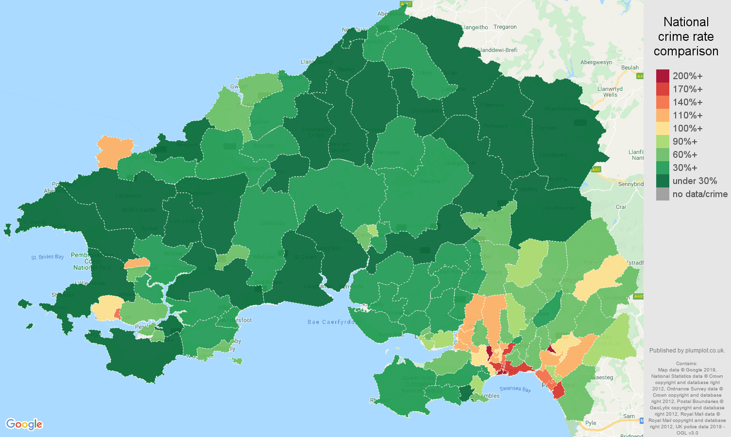 Swansea public order crime rate comparison map