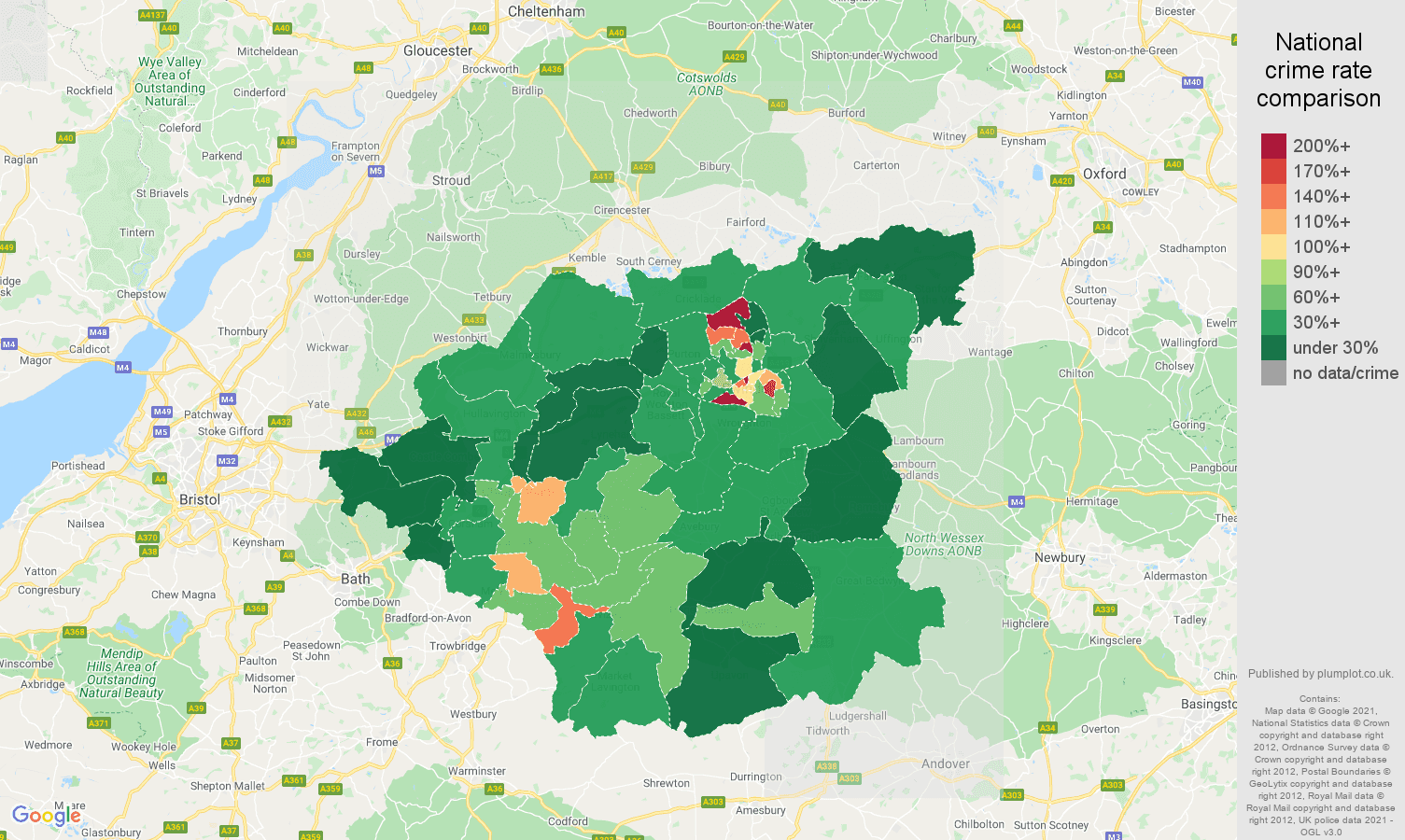 Swindon antisocial behaviour crime rate comparison map