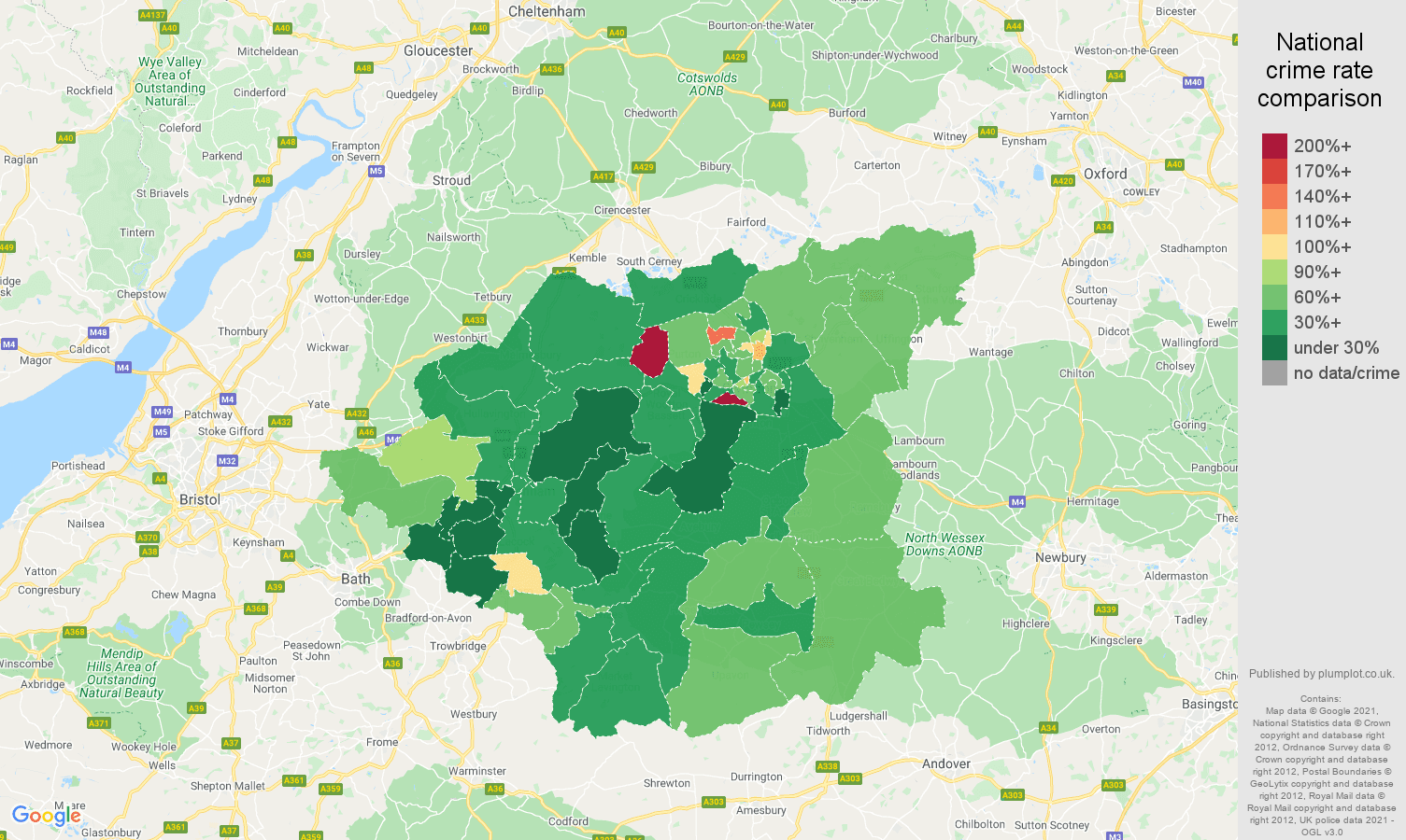 Swindon burglary crime rate comparison map