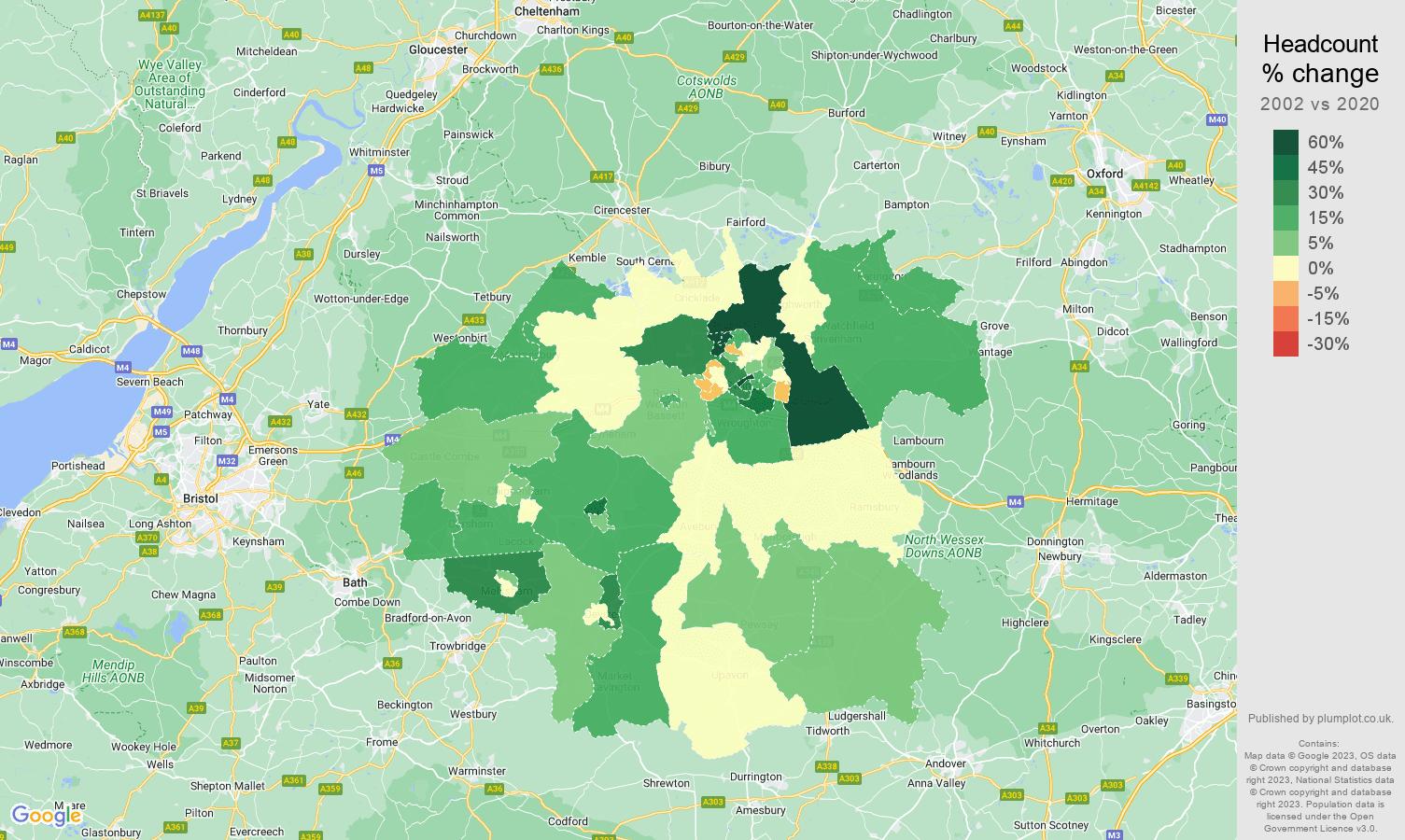 Swindon headcount change map