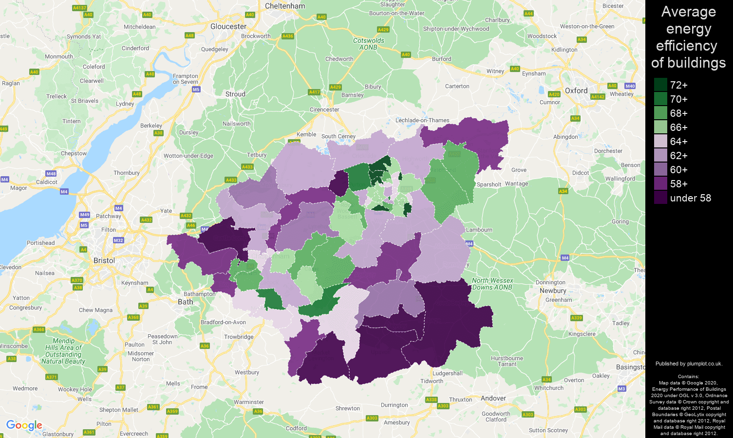 Swindon map of energy efficiency of properties