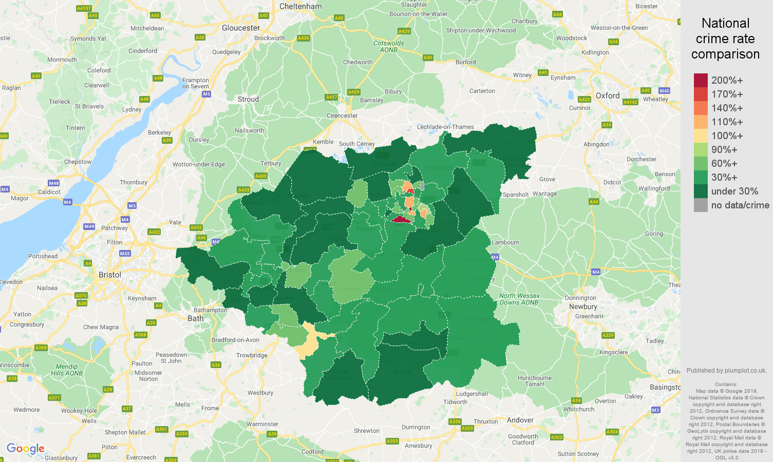 Swindon public order crime rate comparison map