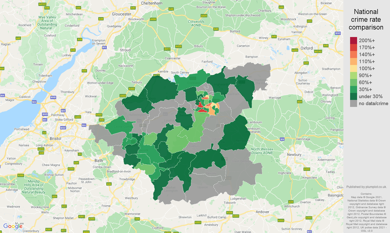 Swindon robbery crime rate comparison map