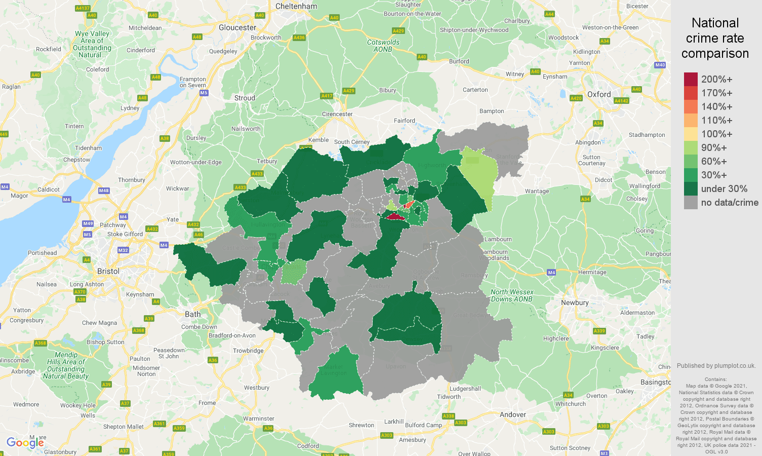 Swindon theft from the person crime rate comparison map