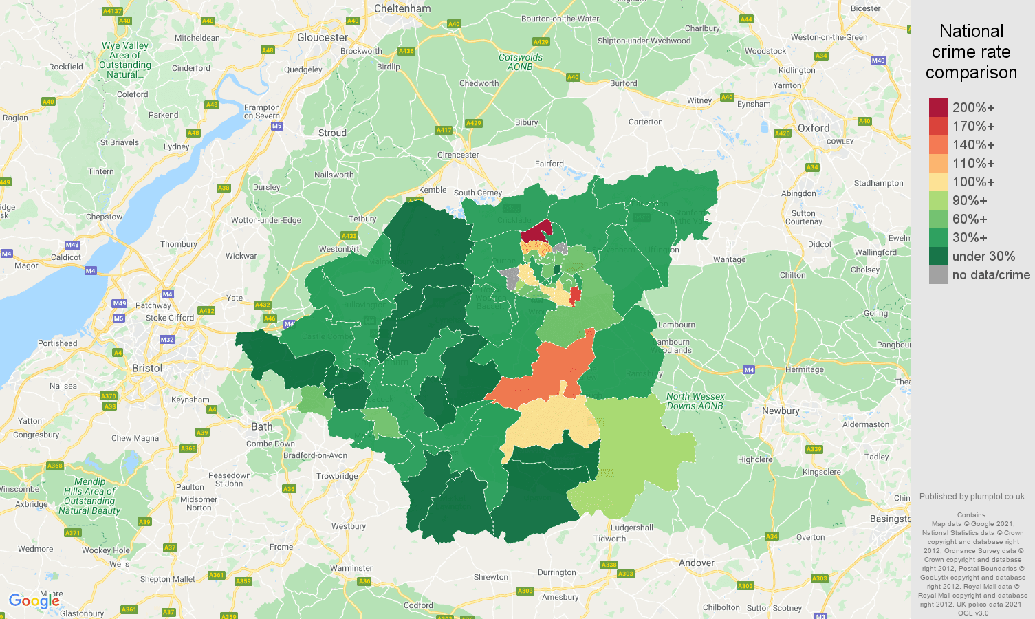 Swindon vehicle crime rate comparison map