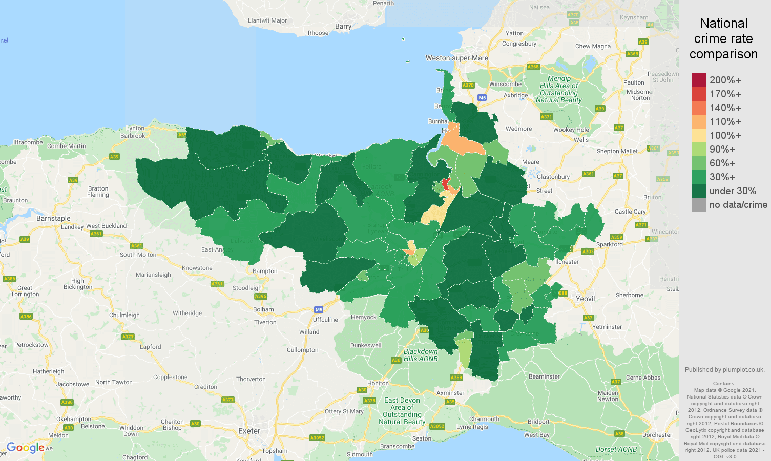 Taunton antisocial behaviour crime rate comparison map