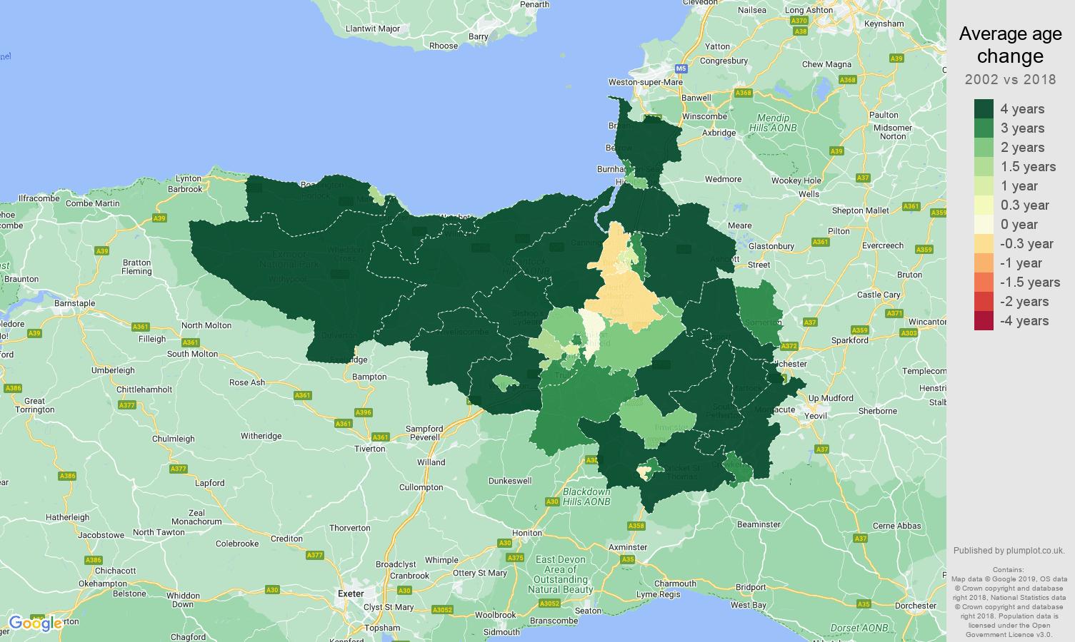 Taunton average age change map