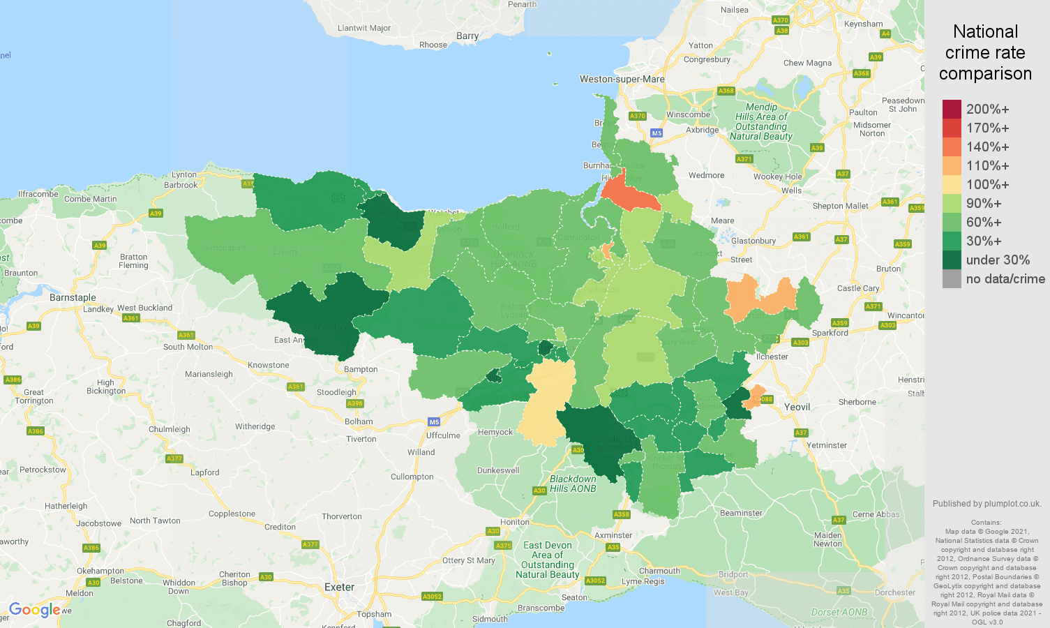 Taunton burglary crime rate comparison map
