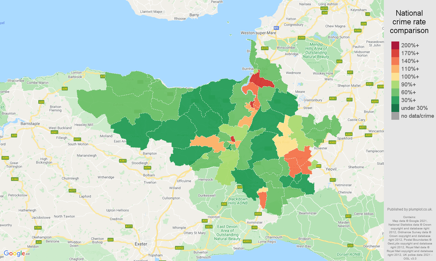 Taunton criminal damage and arson crime rate comparison map