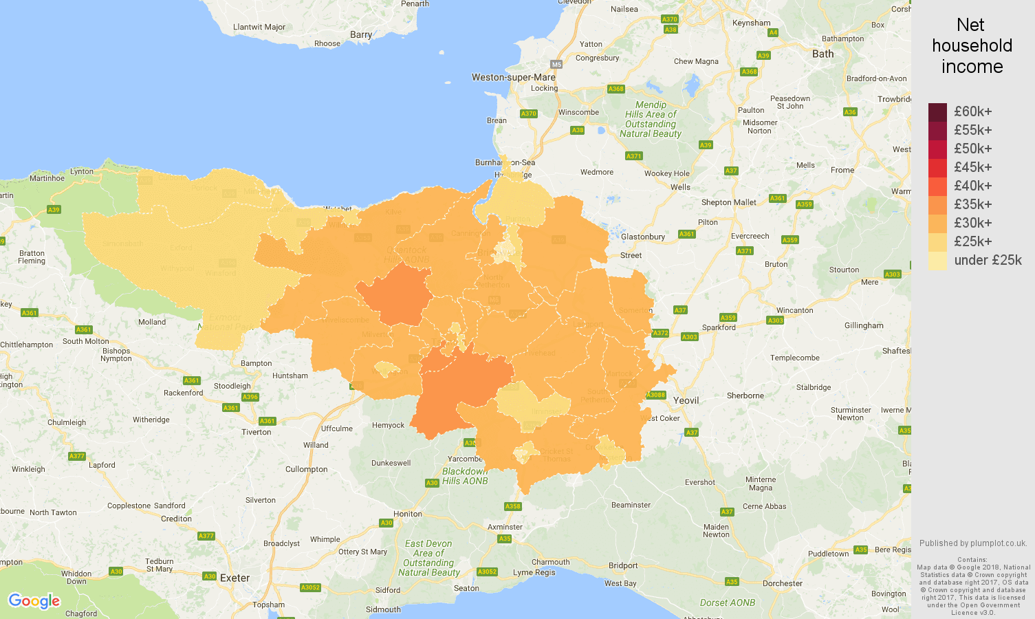 Taunton net household income map