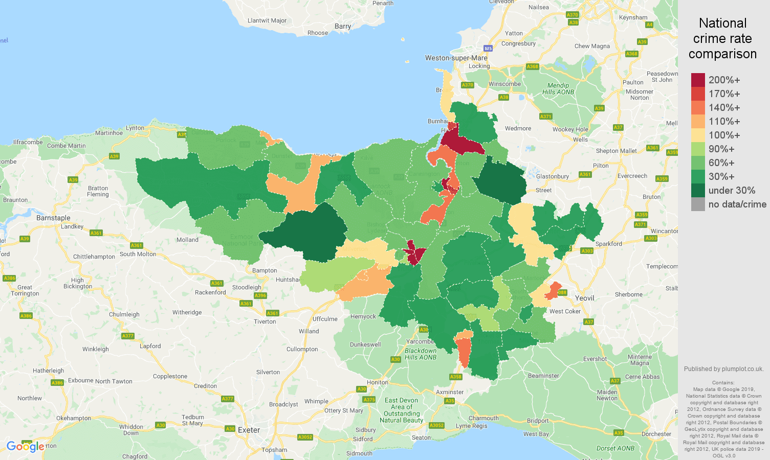 Taunton public order crime rate comparison map