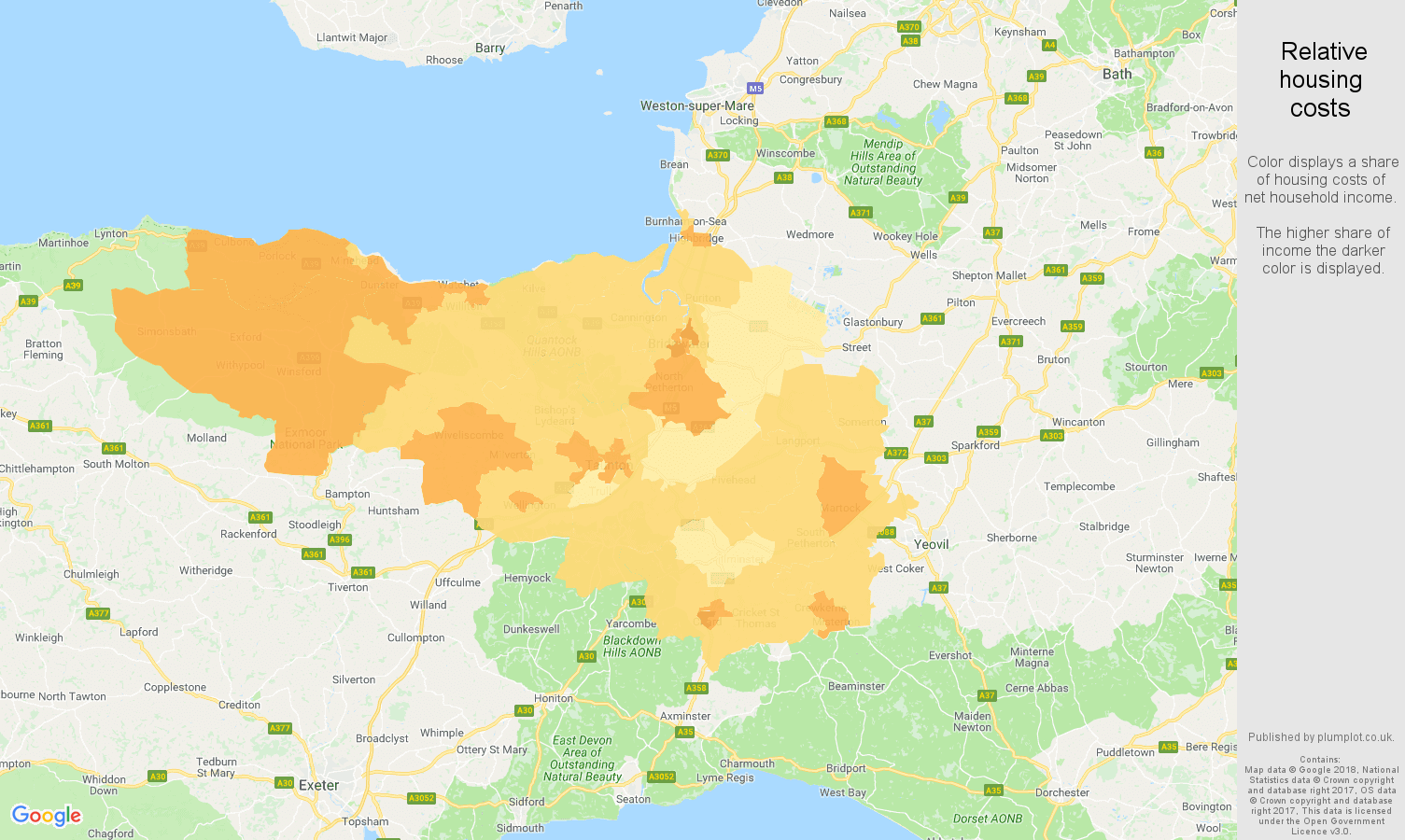 Taunton relative housing costs map