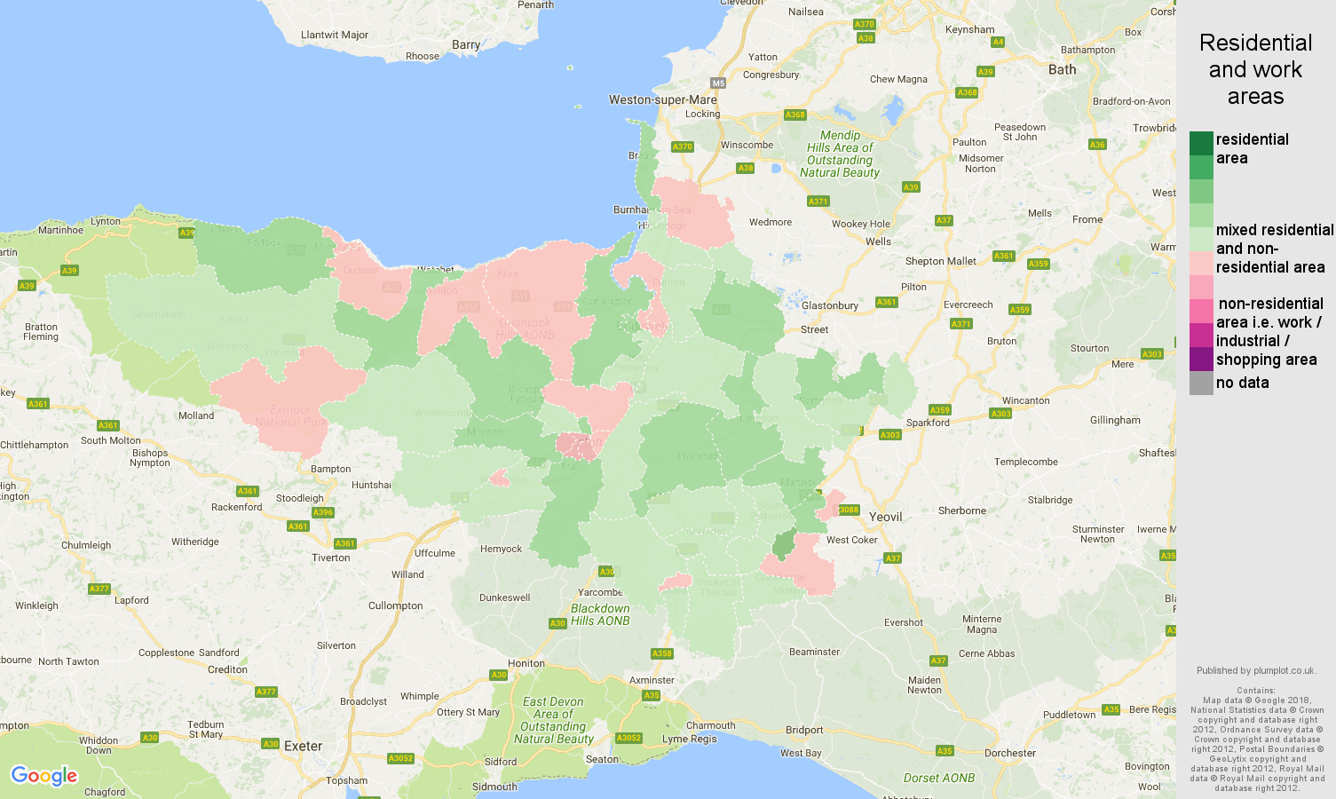 Taunton population stats in maps and graphs