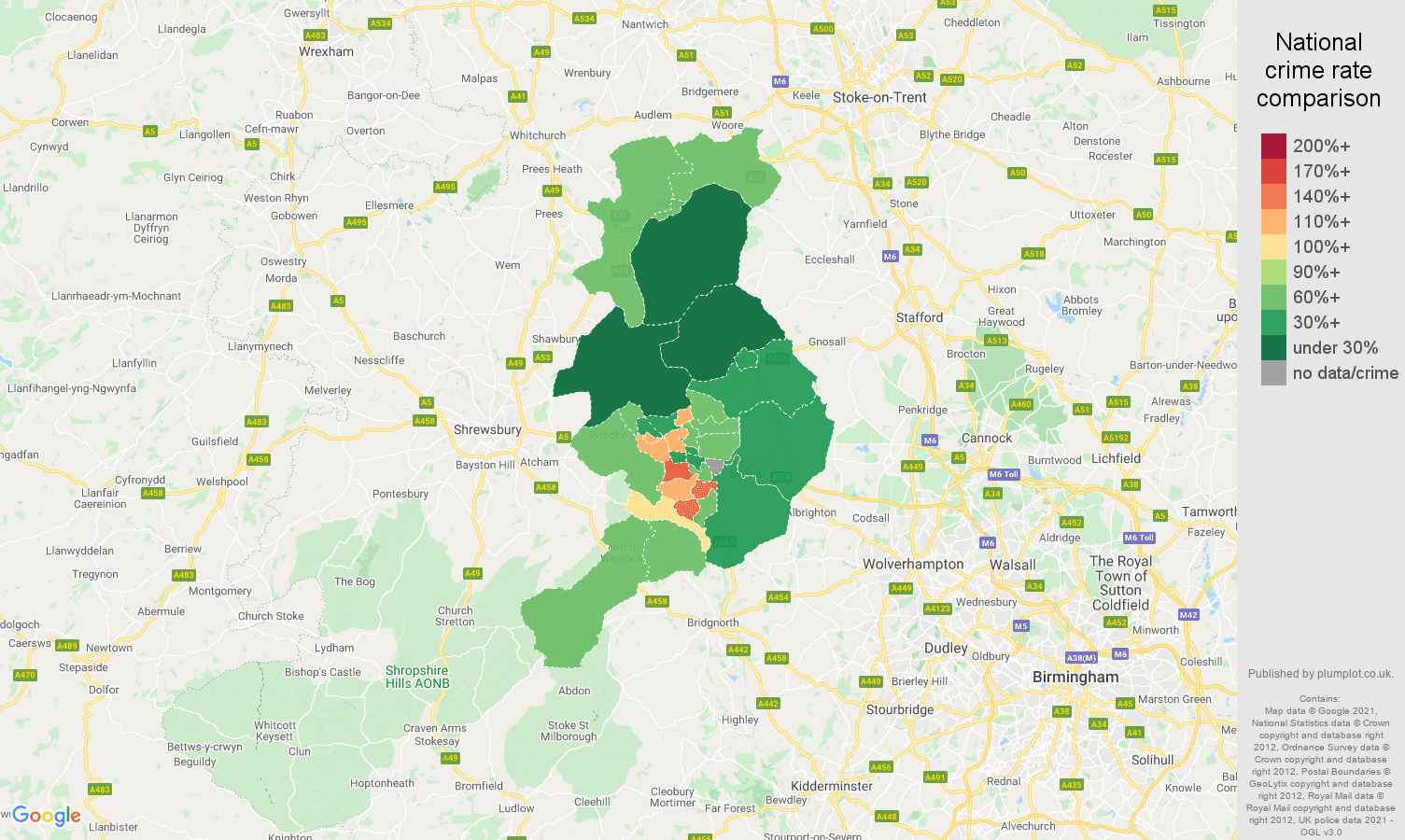 Telford antisocial behaviour crime rate comparison map