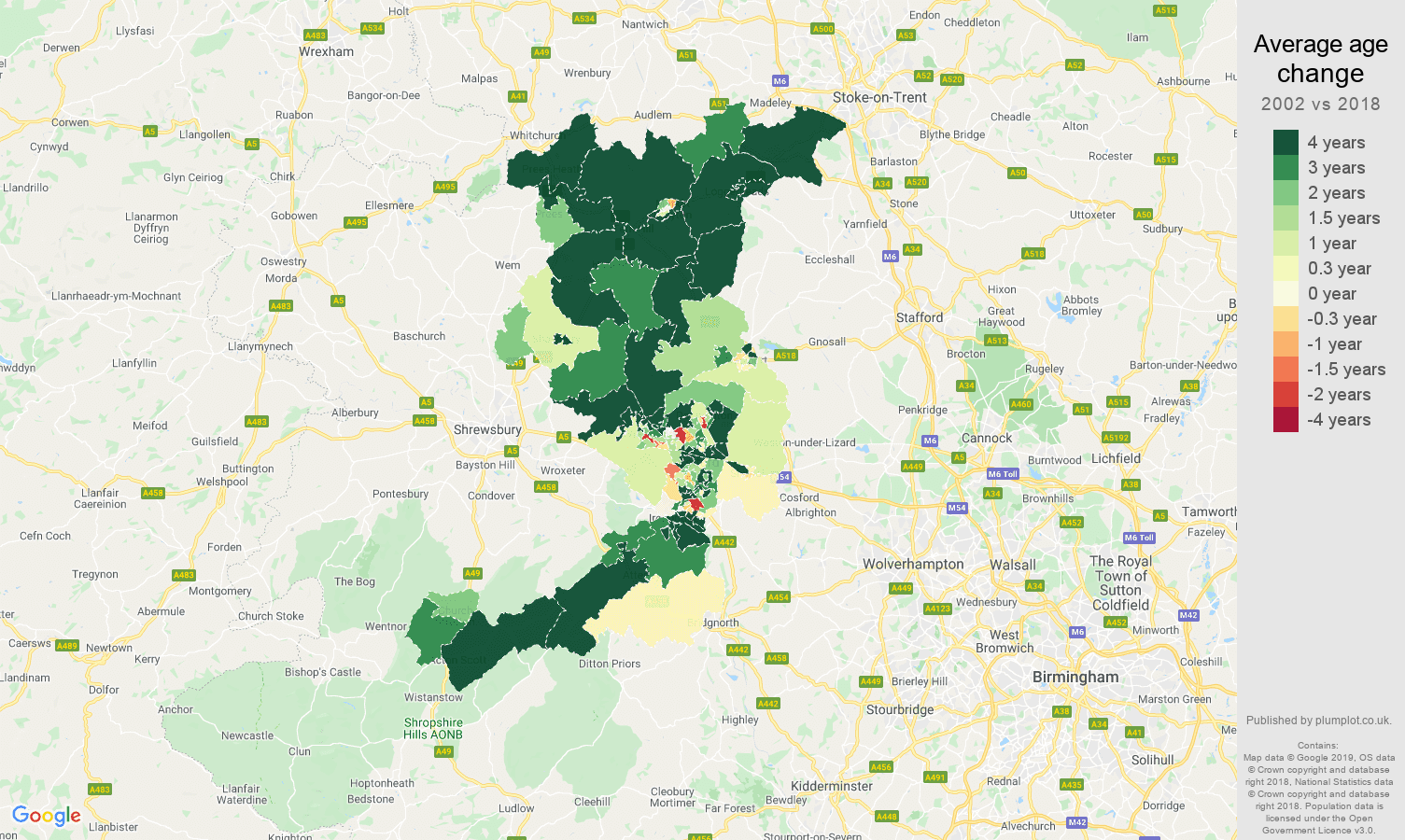 Telford average age change map