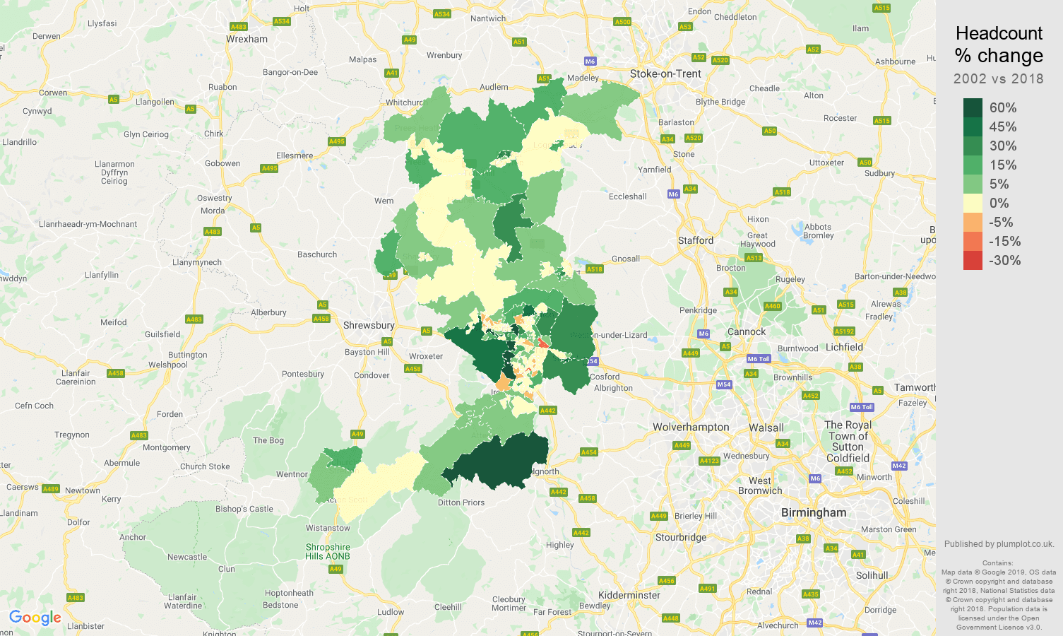 Telford headcount change map